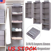 Wardrobe Storage Bag 3-5-Layer Drawer Box Hanging Clothes Holder Rack Organizer