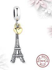Torre Eiffel 925 plata encanto romántico Corazón Oro de París cuelgan Regalo