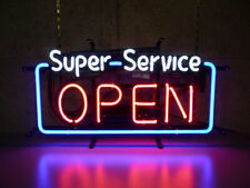 "New Super Service Open Neon Light Sign 24""x20"" Lamp Poster Real Glass Beer Bar"