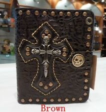 Mens Biker/Skull/Gothic BROWN leather wallet-Cross ( BROWN) skulls NWT