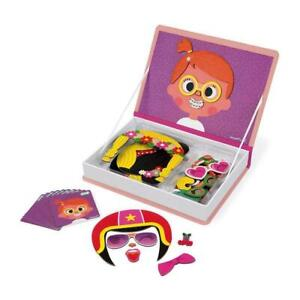 Janod Girl's Crazy Faces Magneti'Book Magnetic Educational Game 55 Pieces