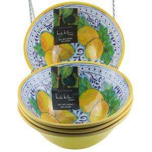 Nicole Miller Lemon Melamine Soup Cereal Bowls Set of 4 Yellow Blue
