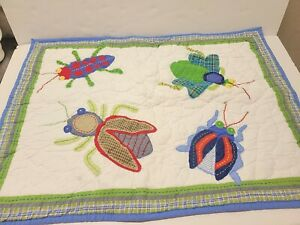 POTTERY BARN KIDS 2 Hand Quilted Standard Sham Stitching Applique BUGS NWOT