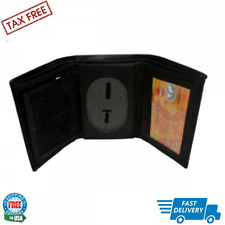 Tri-fold Leather Wallet Rounded Oval Shape Police Badge Holder Black 4.1/2x3.1/2