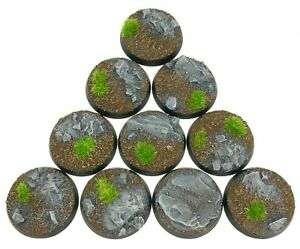 Rocks - Round Resin Bases 28 mm - 10 Painted/Unpainted Bases for Warhammer