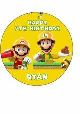 "Super Mario | Mario Maker Personalizado Comestible Cumpleaños Cake Topper 7.5"" Redondo"
