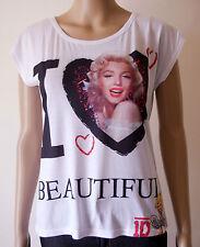 Maxi t-shirt maglietta donna viscosa stampa marilyn monroe taglia Unica