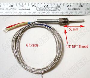 """Liquid tight K type thermocouple temperature probe, 2in probe, 1/4"""" NPT Thread"""