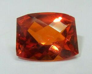 Rare Saphir orange intense coussin facetté 6.3 cts VVS 12 x 10 mm Original