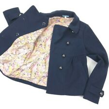 LeifNotes Anthropologie Women's Navy Blue Swing Coat Peacoat Jacket • Size 2