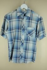 Vintage Men's Blue & White Plaid Polyester Cotton Casual Shirt S Small