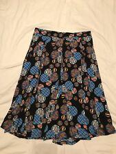 Lularoe Large Knee Length Pleated Skirt Circles Dots Blue Orange Pockets
