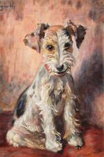 Paul Segieth 1884-1969 Hundham / Gemälde junger Foxterrier / signiert um 1930-31