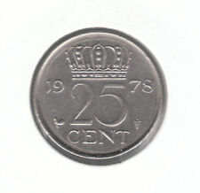 Netherlands 25 Cents 1978 Nickel Coin - Queen Juliana