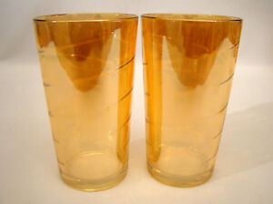 "Vintage Pair of Carnival Glass Water Tumblers 5"" Swirl pattern Amber / Marigold"