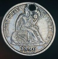 1890 Seated Liberty Dime 10c High Grade Details Good Date US Silver Coin CC5062