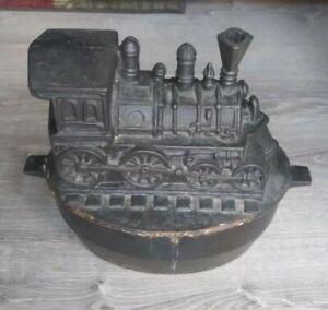 "Antique Cast Iron Train Railroad Wood Stove Humidifier 12"" HEAVY Kitchen Pan Pot"