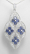 """Antique 2.17"""" BIG Solid Sterling Silver Iolite and SPARKLING CZs Pendant 7.9g"""