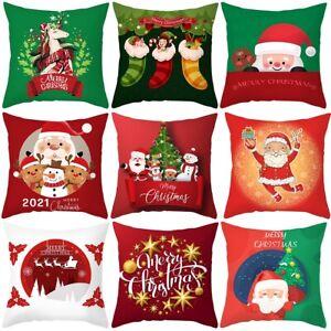 18'' Christmas Xmas Santa Sofa Car Throw Cushion Linen Pillow Cover Case Home