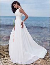 White/Ivory Chiffon Beach Wedding Dress Bridal Gown Custom Size 6 8 10 12 14 16