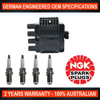 4x Genuine NGK Spark Plugs & 1x Ignition Coils for Holden Astra TR Barina SB