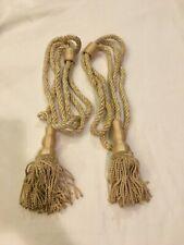 New listing 2 Vintage Cream/Off-White Rope Drapery Curtain Tiebacks W/Large Tassels