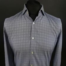 HUGO BOSS Mens Formal Shirt 39 15.5 (SMALL) Long Sleeve Blue SLIM FIT Check