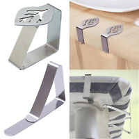 Stainless Steel Tablecloth Table Desk Cover Clips Clamp Holders Silver 4pcs Clip
