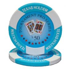 50 Light Blue $50 Tournament Pro 11.5g Clay Poker Chips - Buy 2+ for $10 Each!