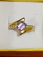 10k Gold Natural Amethyst And Diamond Ring Sz7