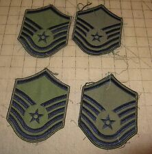 4 US AIR FORCE MASTER SERGEANT (E-8) USED Worn Uniform Patches Green Blue