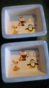 Pair Of Christmas Sweets/nuts Dishes