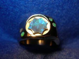 Mens Lightning Ridge Black Opal, stainless Steel Ring (Lot 203)