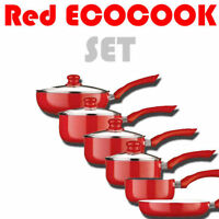 Ecocook Red Saucepan Frypan Pan Set Non Stick White Ceramic Coating & Glass Lids