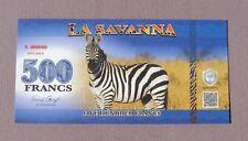 La Savanna 2015 Private Banknote Edition 500 Francs 'Zebra' - UNCIRCULATED