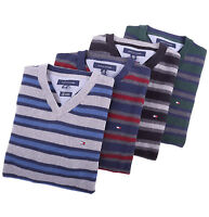 Tommy Hilfiger Men Classic Cashmere Cotton V-Neck Stripe Golf Sweater - $0 Ship