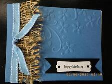 Handmade HAPPY BIRTHDAY Card Burlap Using Stampin Up! Embossed  Bow Flowers