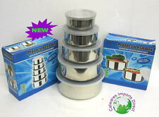 NEW  STAINLESS STEEL  KITCHEN CONTAINERS CANISTER SET OF 5 W/ LIDS