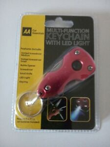 AA Multi-Function Key Chain with LED Light Screwdriver Bottle Opener Keyring