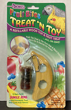 BROWN'S- TREAT 'N TOY REFILLABLE Wood Toy & Fruit Treat, Bird Toy NEW