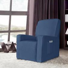 Enova Home Denim Blue Stretch Spandex Jacquard Recliner Chair Slipcovers