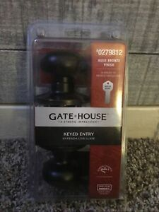 Gate House #0279812 Aged Bronze Keyed Entry Knob Door Lock NIB