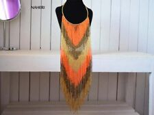 Africa orange fringe necklace. Tribal beaded fashion jewelry. Gift for her