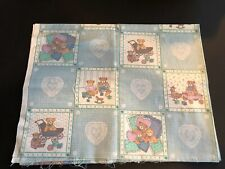 """VTG Teddy Bears At Play Blue/White Lace Pattern Quilt Panel 35""""x70"""""""