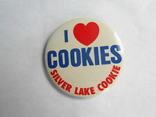 Vintage Silver Lake Cookie I Heart /  Love Cookies Advertising Pinback Button