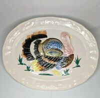 "Vintage Large 18"" Thanksgiving Hand Painted Turkey Serving Platter Made in Japan"