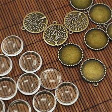 10 sets Clear Glass Cameo Cabochons Pendants Trays Charms Jewelry Making