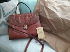 Nwt Patricia Nash 'Stintino' Tan Laser Cut Leather Satchel Shoulder Bag Purse