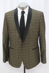 mens gold black jacquard J FERRAR smoking jacket formal tuxedo tux evening 44 R