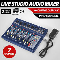7 Channel Professional Live Studio Audio Mixer Sound Mixing DJ USB Power Console